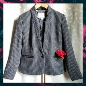 {BananaRep}Gray Wool Pinstripe Faux Leather Blazer